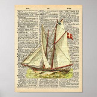 Vintage Dictionary Art Nautical Sailboat Beachy Poster