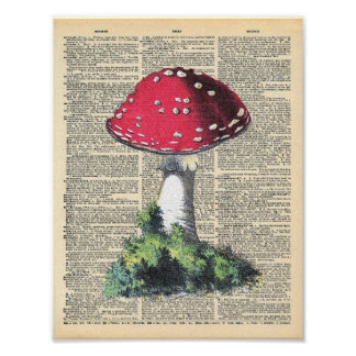 Vintage Dictionary Art Red Mushroom Fairy House Poster