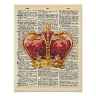 Vintage Dictionary Art Royal Red Gold Crown Poster