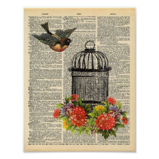 Vintage Dictionary Wall Art Bird and Cage