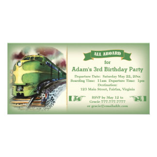 Vintage Diesel Train Birthday Party Invitation