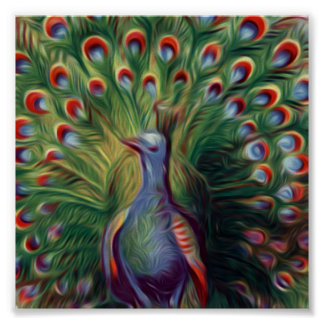 Vintage Digital Oil Paitning Beautiful Peacock Poster