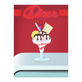 Vintage Diner ice cream restaurant Gallery Wrapped Canvas