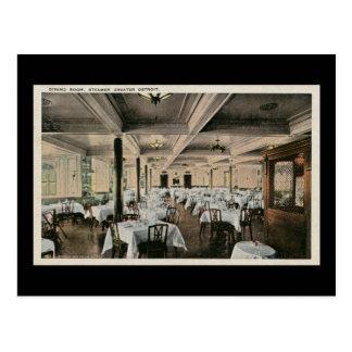 Vintage Dining Room Greater Detroit Steamship Postcard
