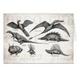 Vintage Dinosaur Illustration Retro Dinosaurs Cards