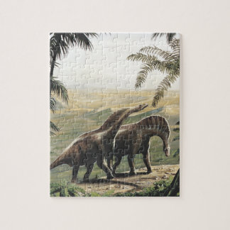 Vintage Dinosaurs, Amargasaurus with Palm Trees Jigsaw Puzzle