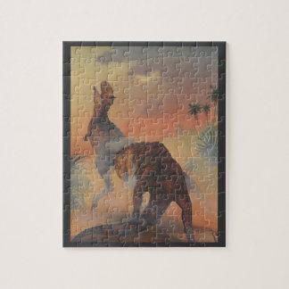Vintage Dinosaurs, Carnotaurus Roaring in Jungle Jigsaw Puzzle