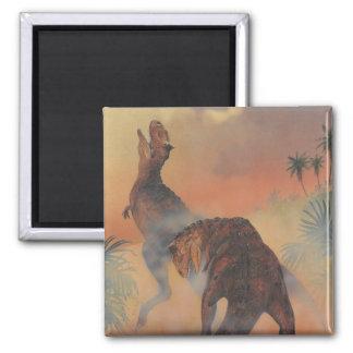 Vintage Dinosaurs, Carnotaurus Roaring in Jungle Square Magnet