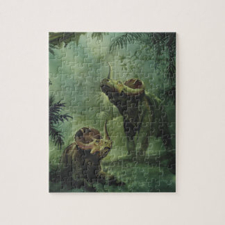 Vintage Dinosaurs, Centrosaurus in the Jungle Jigsaw Puzzle