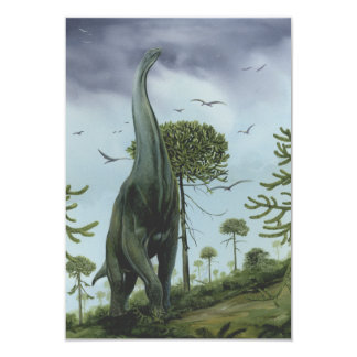 Vintage Dinosaurs, Sauroposeidon with Birds Flying Card
