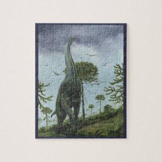 Vintage Dinosaurs, Sauroposeidon with Birds Flying Jigsaw Puzzle