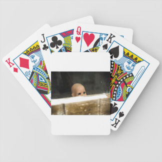Vintage Dirty Dollhead Peering Out Of Window Poker Deck