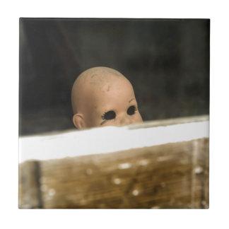 Vintage Dirty Dollhead Peering Out Of Window Tile