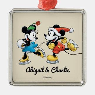 Vintage Disney | Mickey & Minnie Ice Skating Metal Ornament