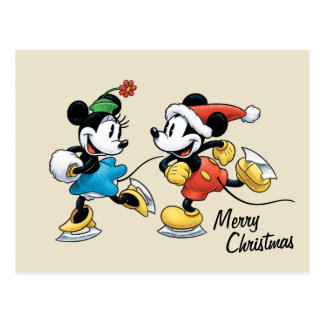 Vintage Disney | Mickey & Minnie Ice Skating Postcard