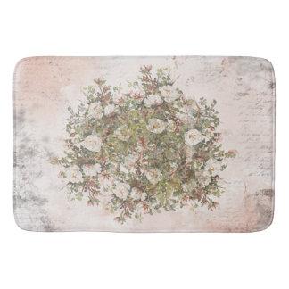 Vintage Distressed Boho White Rose Bath Mat