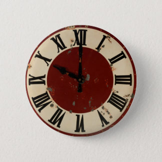 Vintage Distressed Clock Face 2 Inch Round Button