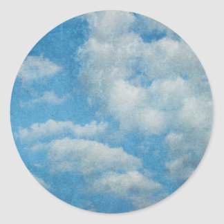 Vintage Distressed Clouds Background Classic Round Sticker
