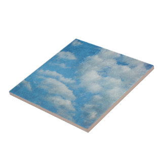 Vintage Distressed Clouds Background Tile