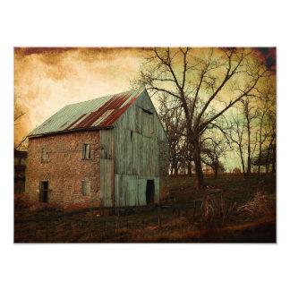 Vintage Distressed Filter Old Barn Tree Photo Print