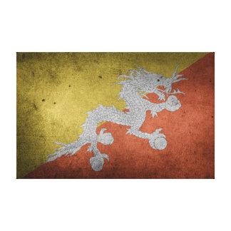 Vintage Distressed Flag of Bhutan Canvas Print