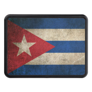 Vintage Distressed Flag of Cuba Trailer Hitch Cover