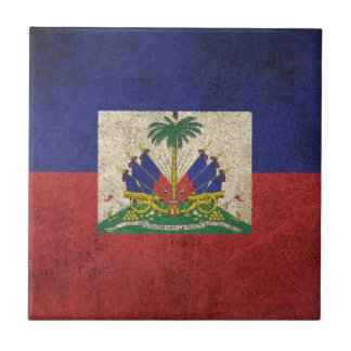 Vintage Distressed Flag of Haiti Tile