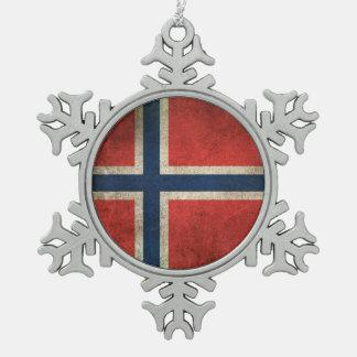 Vintage Distressed Flag of Norway Pewter Snowflake Ornament