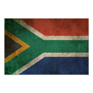 Vintage Distressed Flag of South Africa Poster