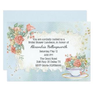 Vintage Distressed Floral Bridal Shower Invitation