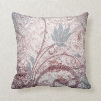Vintage Distressed Floral Damask Throw Pillow