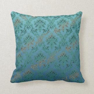 Vintage Distressed Look Aqua Green Damask Print Throw Pillow