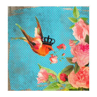 Vintage Distressed Polka Dot and Crowned Bird Canvas Print