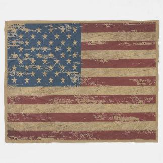 Vintage Distressed US Flag Large Fleece Blanket