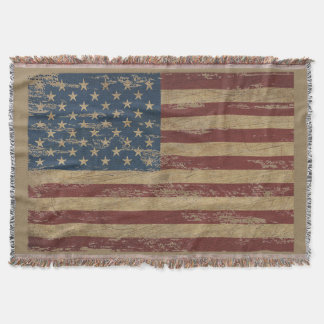 Vintage Distressed US Flag Throw Blanket