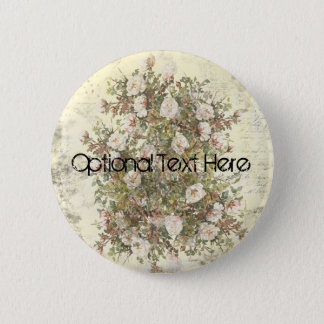 Vintage Distressed White Boho Rose 2 Inch Round Button
