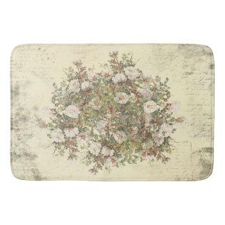 Vintage Distressed White Boho Rose Bath Mat