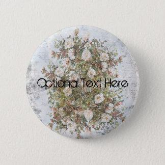 Vintage Distressed White Boho Rose Custom 2 Inch Round Button
