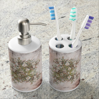Vintage Distressed White Boho Rose Mix and Match Bathroom Set