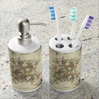 Vintage Distressed White Boho Rose Mix and Match Soap Dispenser And Toothbrush Holder