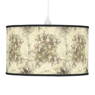 Vintage Distressed White Boho Rose Pendant Lamp
