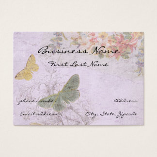 Vintage Distressed With Butterflies and Flowers Business Card