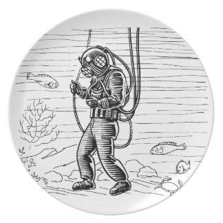 Vintage Diver - ocean diving suit Dinner Plates