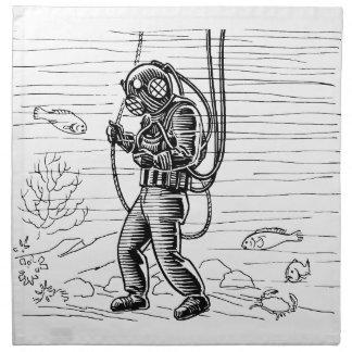Vintage Diver - ocean diving suit Napkins