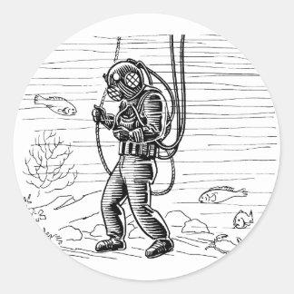 Vintage Diver - ocean diving suit Round Sticker