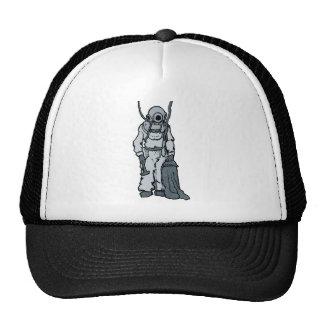 Vintage Diver with Diving Helmet Illustration Trucker Hat