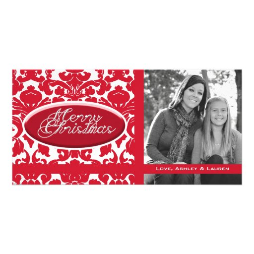 Vintage Divine Damask Red with Oval Name Plate Photo Card