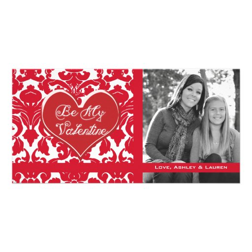 Vintage Divine Damask Red with Oval Name Plate Custom Photo Card