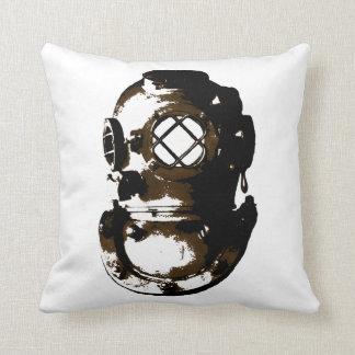 vintage diving helmet scuba beach ocean unique fun throw pillow