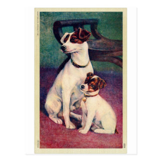 Vintage Dog and Puppy Canine Father & Son Postcard